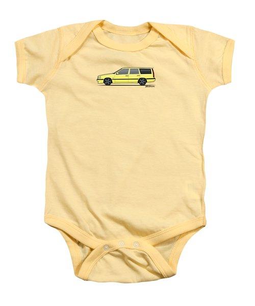 Volvo 850r 855r T5-r Swedish Turbo Wagon Cream Yellow Baby Onesie by Monkey Crisis On Mars