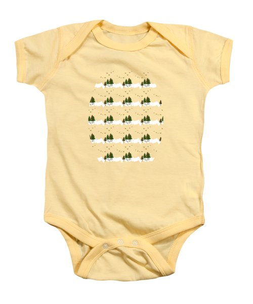Baby Onesie featuring the mixed media Winter Woodlands Bird Pattern by Christina Rollo