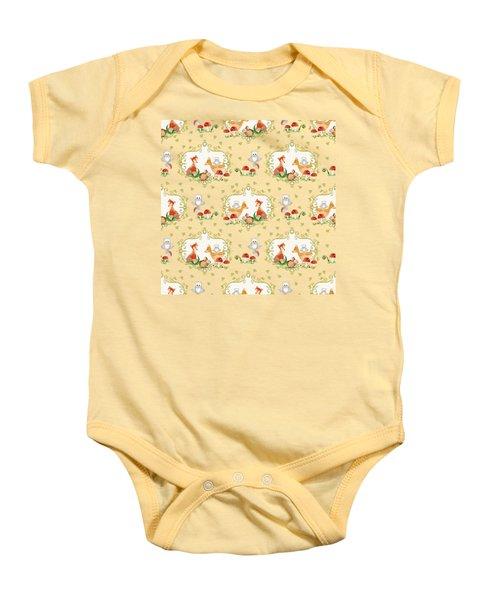 Woodland Fairy Tale - Mint Green Sweet Animals Fox Deer Rabbit Owl - Half Drop Repeat Baby Onesie