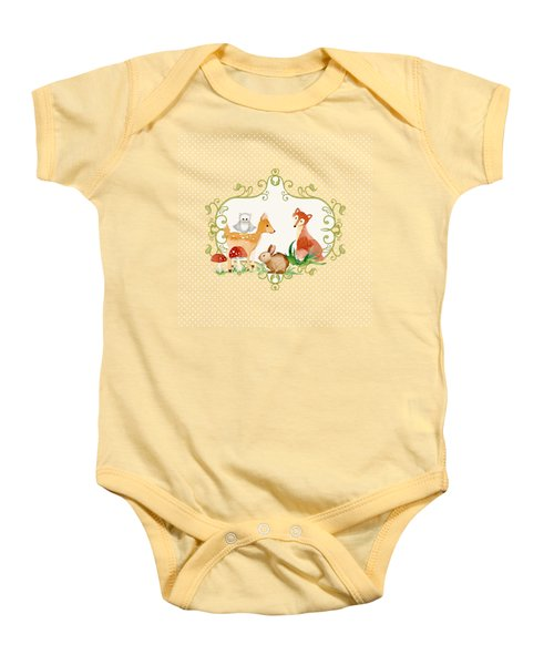 Woodland Fairytale - Grey Animals Deer Owl Fox Bunny N Mushrooms Baby Onesie by Audrey Jeanne Roberts