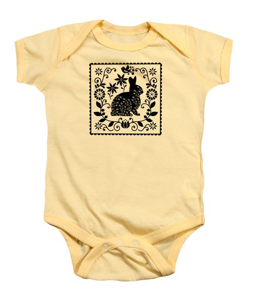 Woodland Folk Black And White Bunny Baby Onesie
