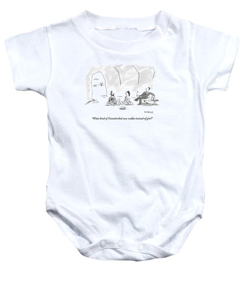 A Caveman And Cavewoman Sit On The Floor Baby Onesie
