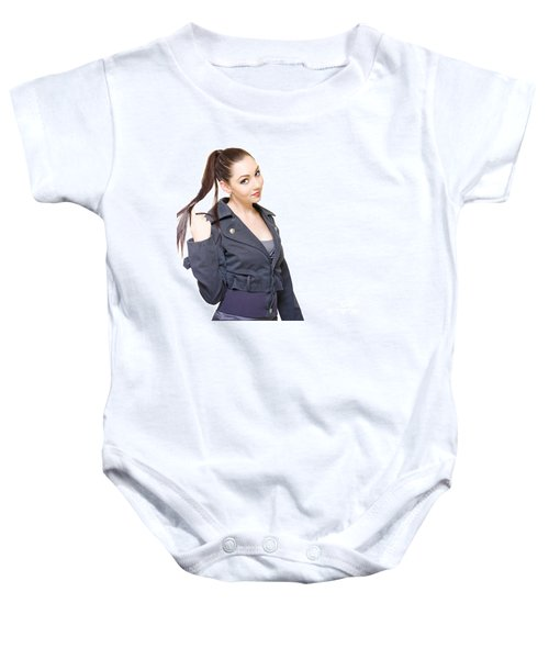 Bored Unproductive Business Woman Twirling Hair Baby Onesie