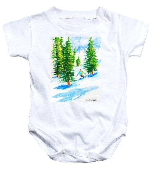 David Skiing The Trees  Baby Onesie