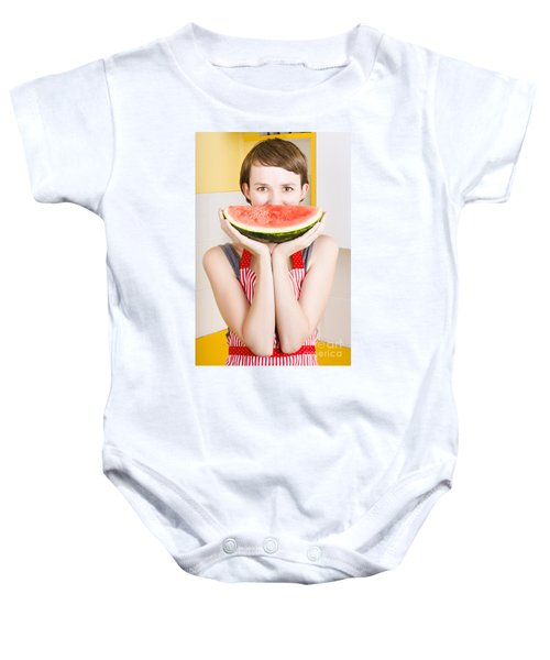 Funny Woman With Juicy Fruit Smile Baby Onesie by Jorgo Photography - Wall Art Gallery