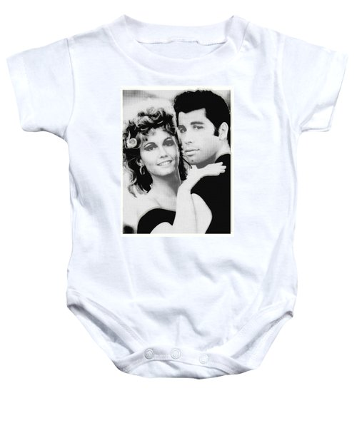 Olivia Newton John And John Travolta In Grease Collage Baby Onesie