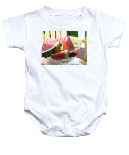 Watermelon Wedges In A Bowl Of Ice Cubes Baby Onesie