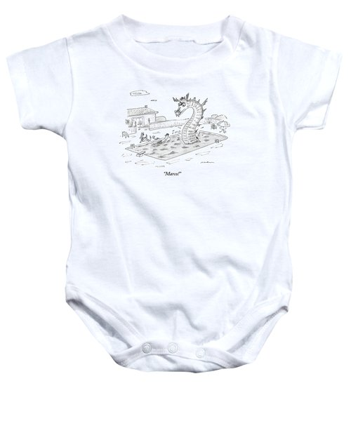 Woman Speaks To Man In A Pool With The Lochness Baby Onesie