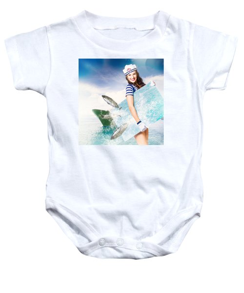 Young Navy Pin Up Model With Seafood Smorgasboard Baby Onesie