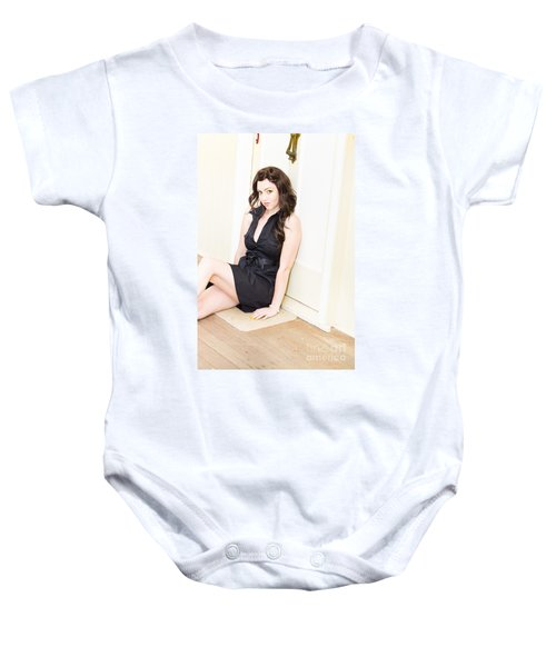 Young Woman Waiting By A House Door Baby Onesie