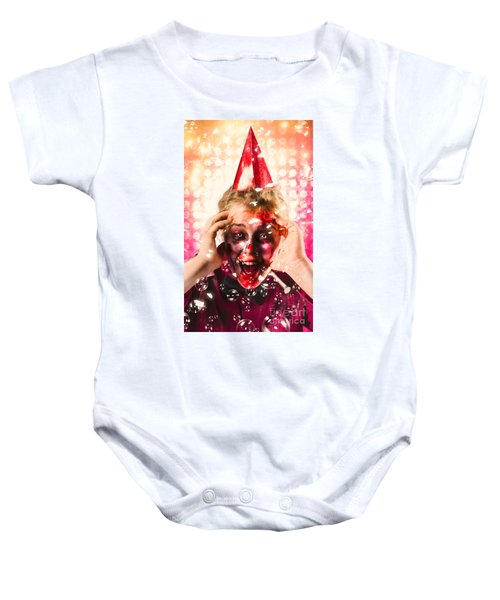 Zombie In Party Hat. Halloween Party Celebration Baby Onesie