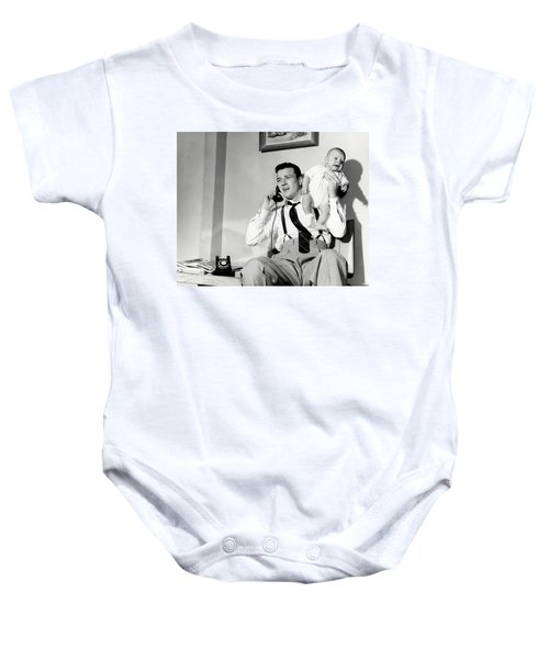 1950s Father Holding Baby While Baby Onesie