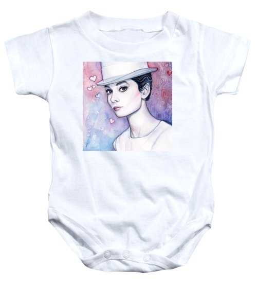 Audrey Hepburn Fashion Watercolor Baby Onesie by Olga Shvartsur