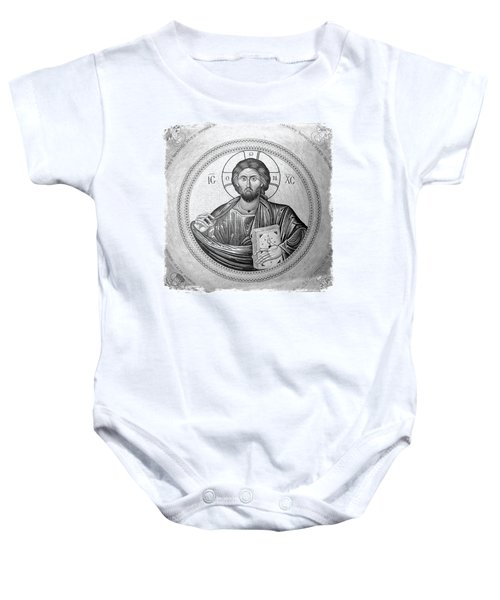 Christ Pantocrator In Black And White -- Church Of The Holy Sepulchre Baby Onesie