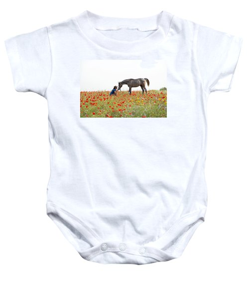 Three At The Poppies' Field... 4 Baby Onesie by Dubi Roman