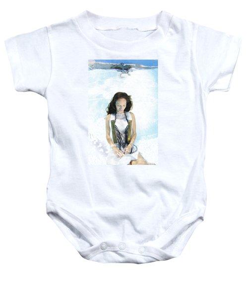 Woman Floats Underwater  Baby Onesie