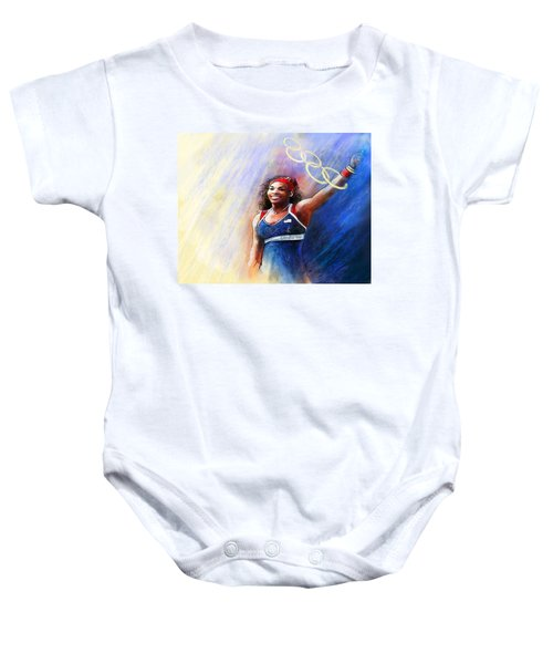 2012 Tennis Olympics Gold Medal Serena Williams Baby Onesie by Miki De Goodaboom