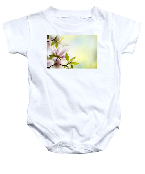 Magnolia Flowers Baby Onesie
