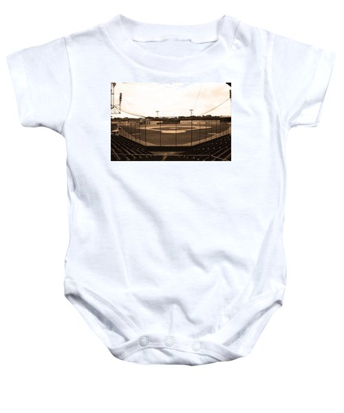 Baby Onesie featuring the photograph Rickwood Field by Frank Romeo