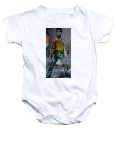 Baby Onesie featuring the mixed media Elvis by Marvin Blaine