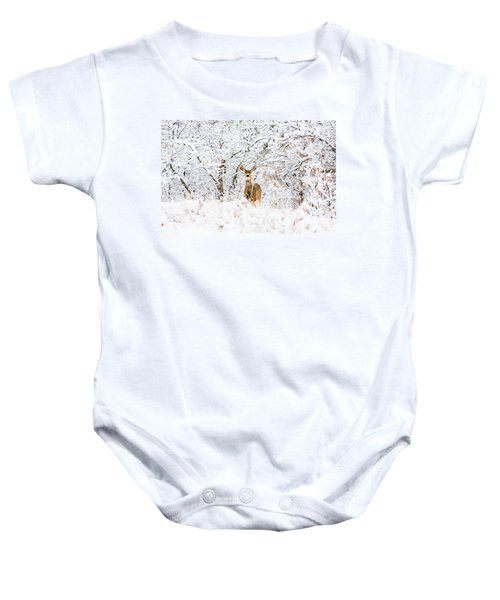 Doe Mule Deer In Snow Baby Onesie