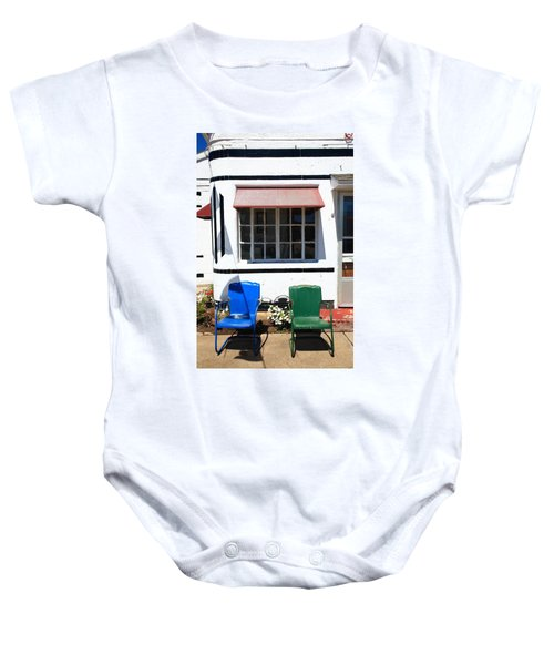 Baby Onesie featuring the photograph Route 66 - Boots Motel by Frank Romeo