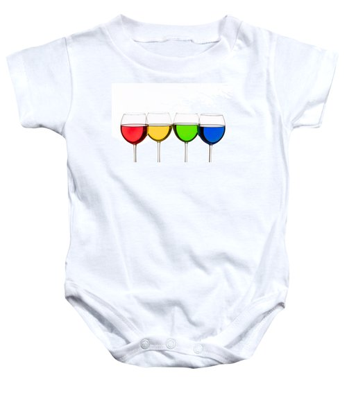 Colorful Wine Glasses Baby Onesie