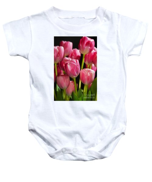 A Bouquet Of Pink Tulips Baby Onesie