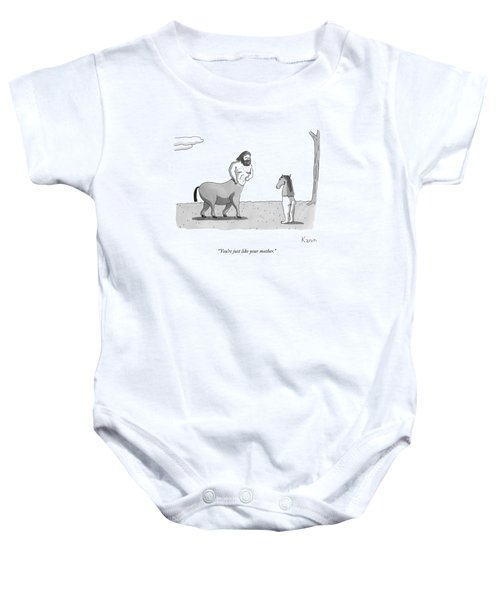 A Centaur Angrily Talks To A Creature Who Baby Onesie by Zachary Kanin