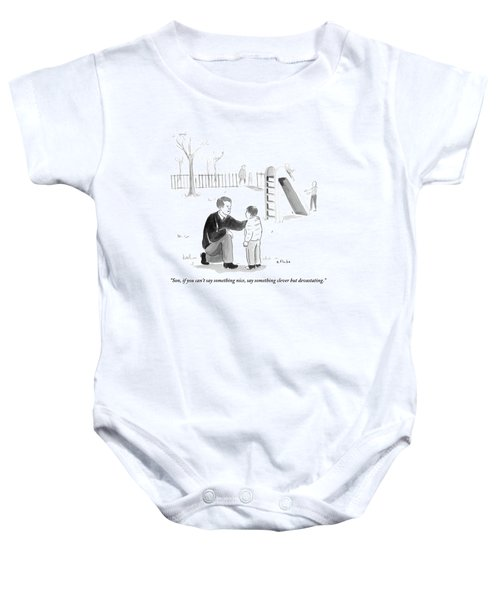 A Father Encourages His Son At The Playground Baby Onesie