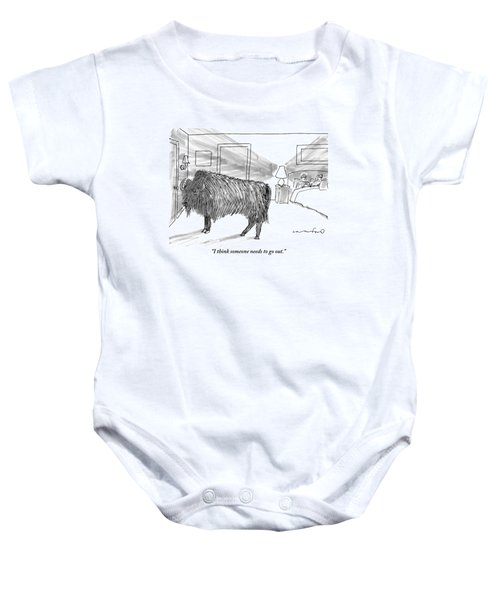 A Large Buffalo Stands Near The Door Baby Onesie