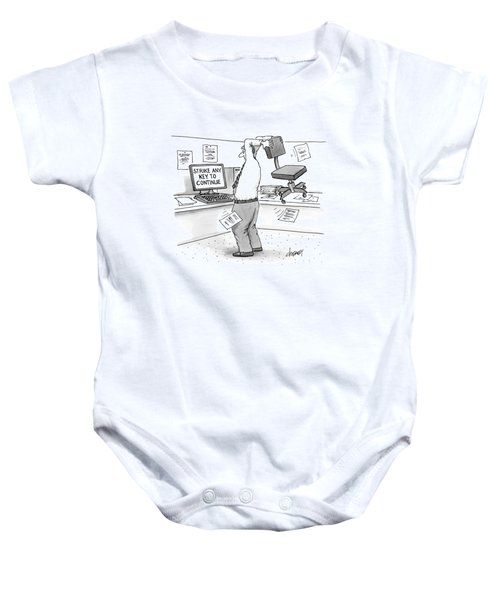 A Man In An Office Cubicle Holds A Chair Baby Onesie