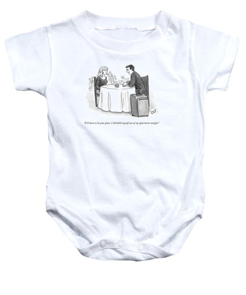 A Man Speaks To A Woman On A Date At A Restaurant Baby Onesie