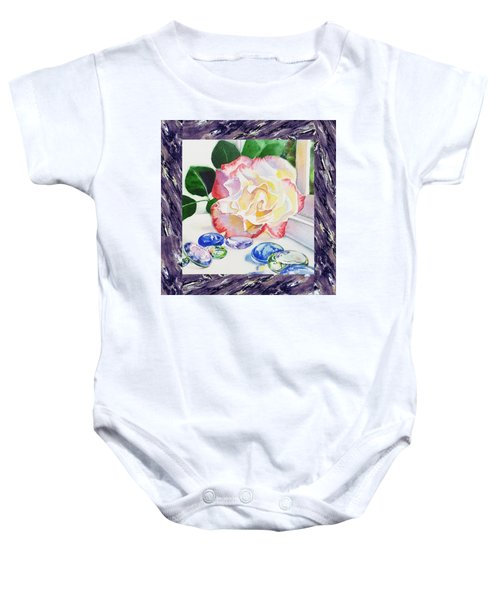 A Single Rose Mable Blue Glass Baby Onesie