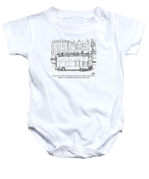A Standing Tour Guide Speaks A Few Tourists Baby Onesie
