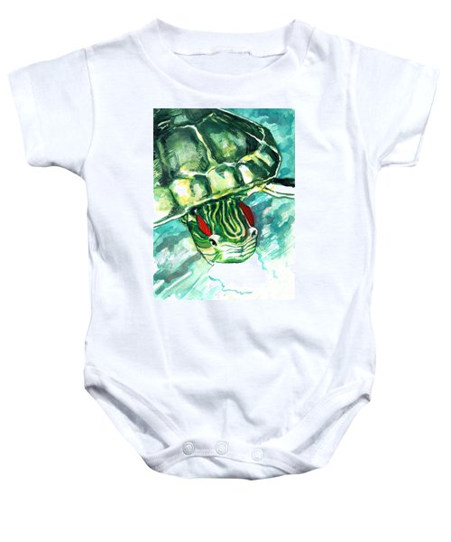 A Turtle Who Likes To Eat Fish Baby Onesie