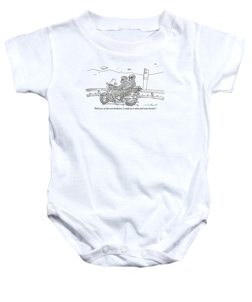 A Woman On The Back Of A Motorcycle Talks Baby Onesie