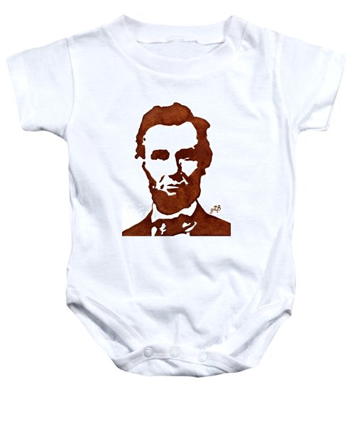 Baby Onesie featuring the painting Abraham Lincoln Original Coffee Painting by Georgeta  Blanaru
