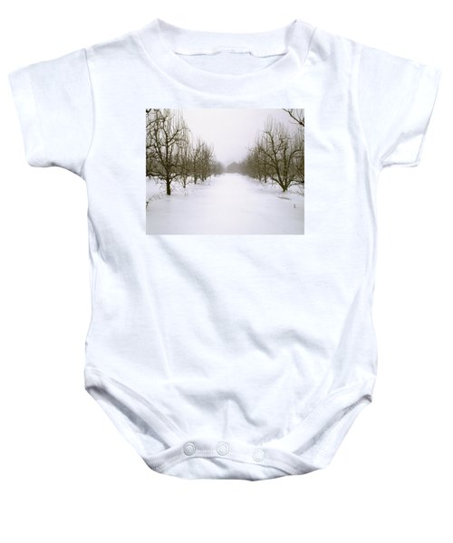 Agriculture - Snow Covered Dormant Pear Baby Onesie