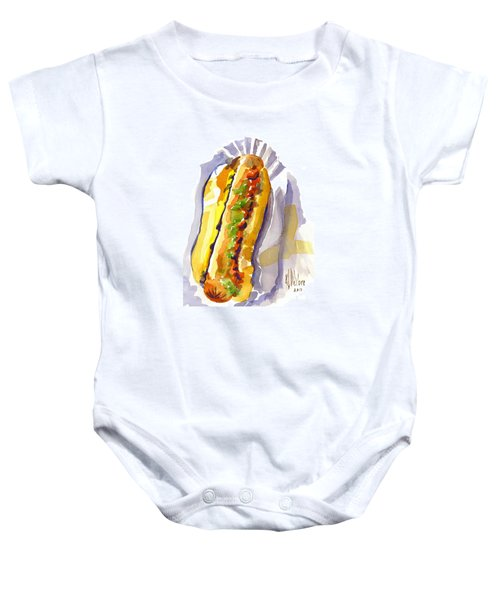 All Beef Ballpark Hot Dog With The Works To Go In Broad Daylight Baby Onesie