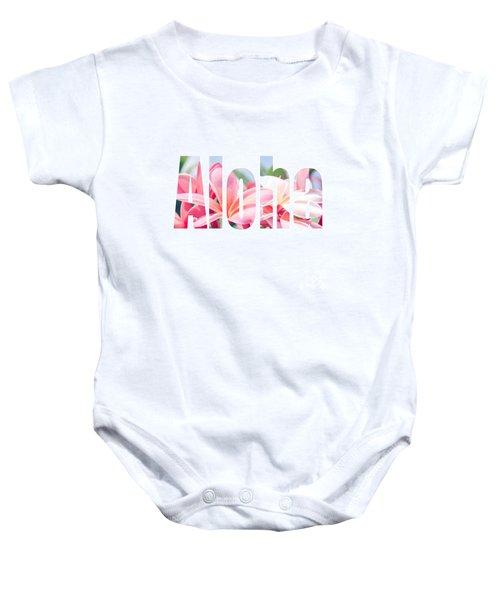 Aloha Tropical Plumeria Typography Baby Onesie