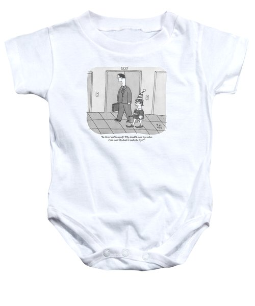 An Elf Carrying Briefcase Says To The Man Baby Onesie