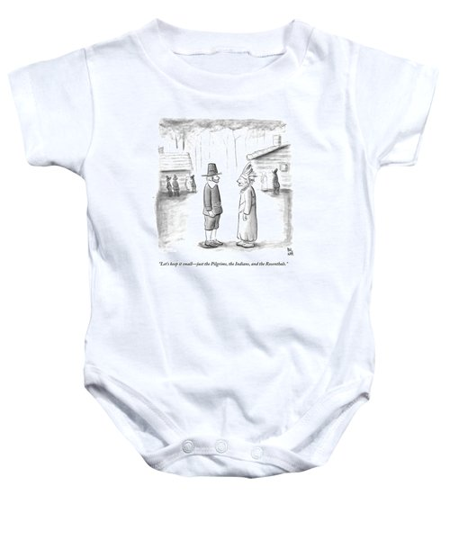 An Indian Chief Speaks To A Pilgrim Baby Onesie