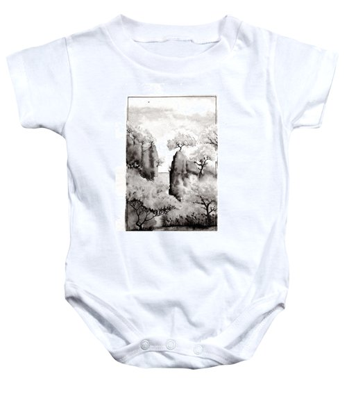 Baby Onesie featuring the painting Arbres Separes by Marc Philippe Joly