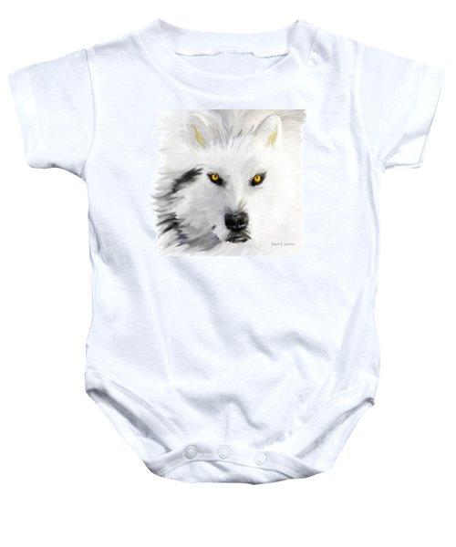 Arctic Wolf With Yellow Eyes Baby Onesie