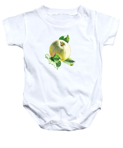 Baby Onesie featuring the painting Artz Vitamins Series A Happy Green Apple by Irina Sztukowski