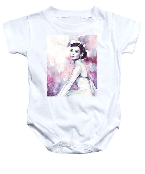 Audrey Hepburn Purple Watercolor Portrait Baby Onesie by Olga Shvartsur