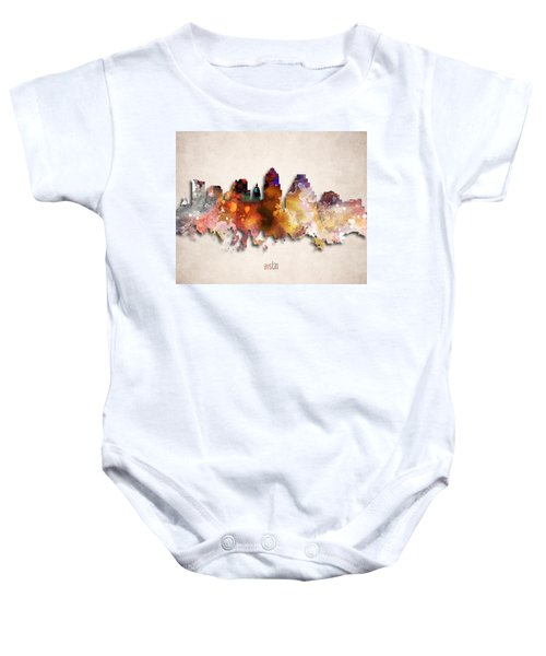 Austin Painted City Skyline Baby Onesie by World Art Prints And Designs
