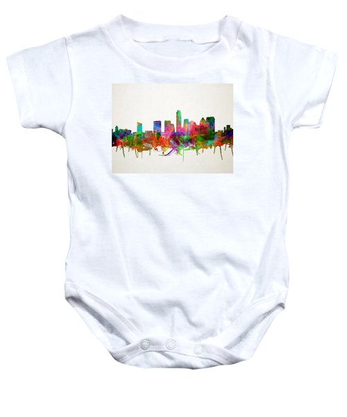 Austin Texas Skyline Watercolor Baby Onesie