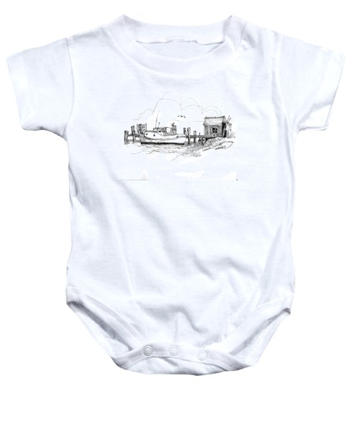 Awaiting Bluefish Run Ocracoke Nc 1970s Baby Onesie